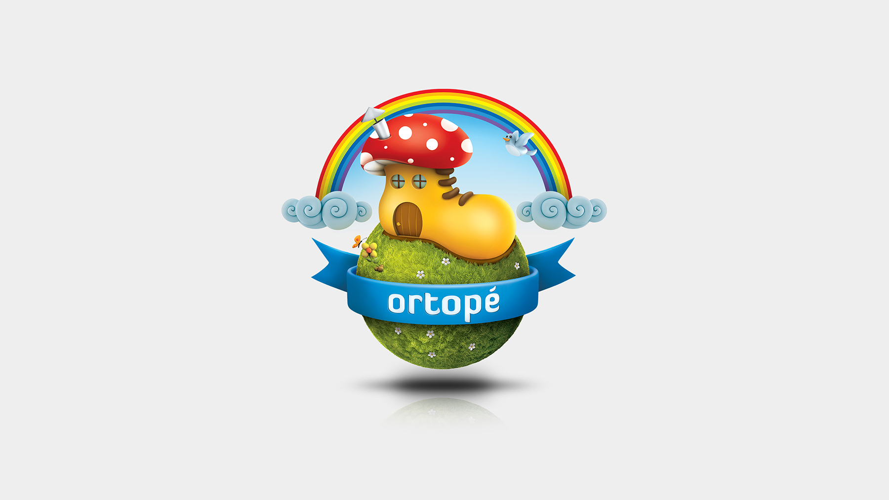 Logo da Ortopé criado em 2009 por Gilnei Silva na SPR.