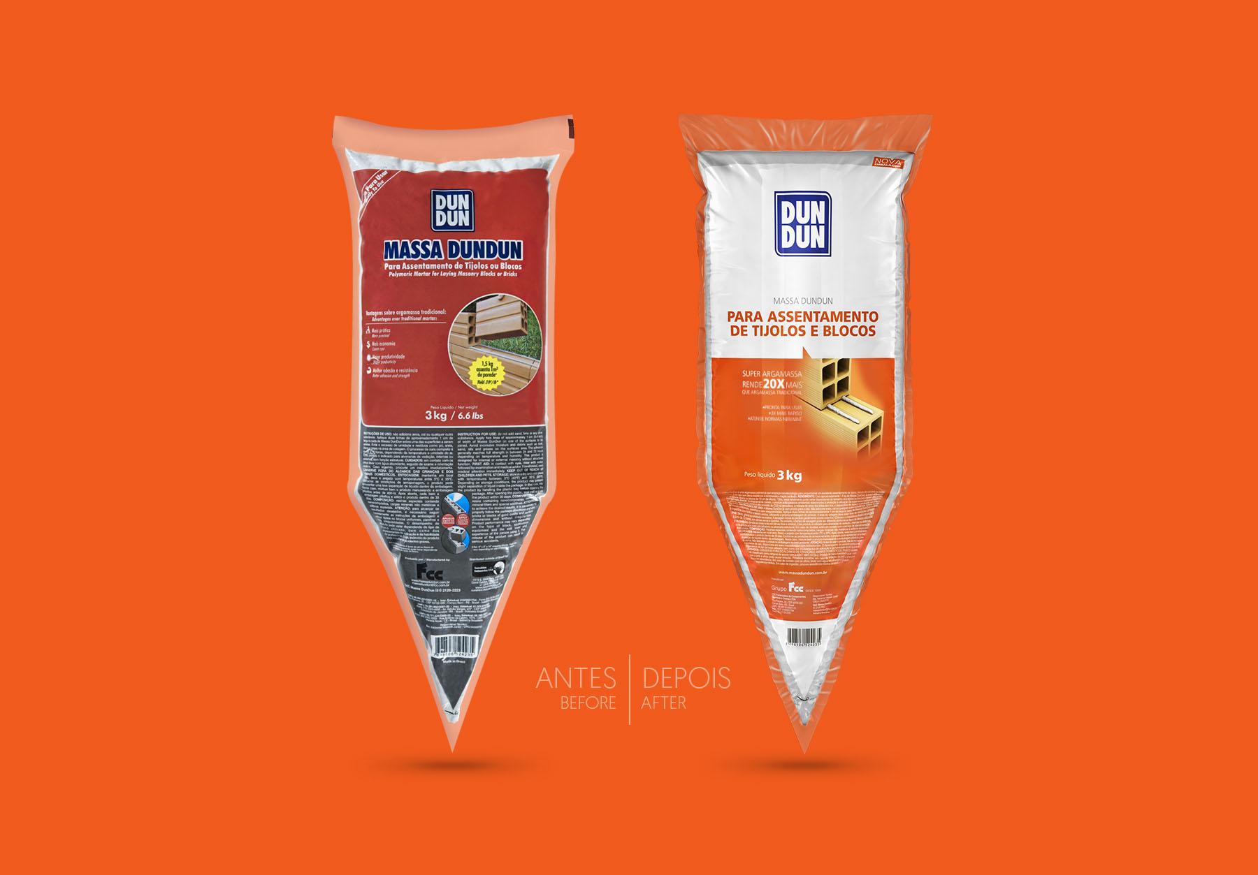 Design das embalagens Massa Dundun