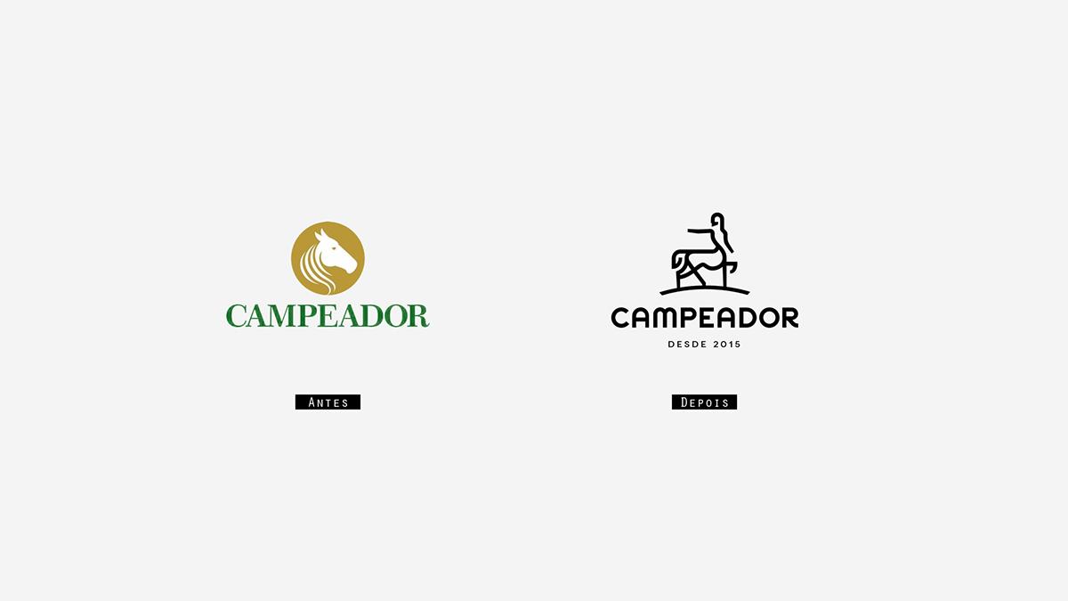 Antes e depois logotipo Campeador