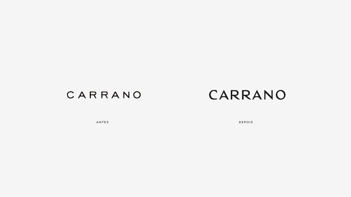 Antes e depois Logotipo Carrano